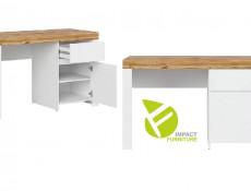 Scandinavian Small Double Bedroom Furniture Set: Bed Desk Wardrobe Bookcase White Gloss/Oak - Holten