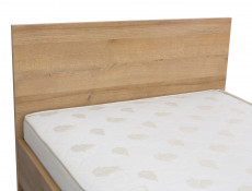 Modern Single Bed Frame Headboard Wooden Slats Riviera Oak - Balder