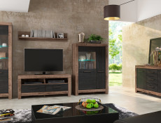 Modern Living Room Wide Sideboard Dresser Storage Cabinet 2 Door Unit with 3 Drawers Oak - Balin