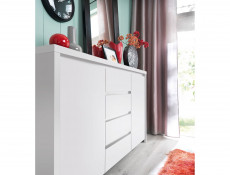 White Matt Double Bedroom Furniture Set with Bed Frame Wardrobe Chest - Kaspian