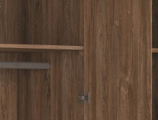 Modern 150cm Freestanding Large Triple 3 Door Wardrobe with Shelves and Rail Medium Oak Effect - Gent (S228-SZF3D/21/15-DAST-KPL01)