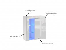 Small White High Gloss Storage Bookcase Modern 1 Door Display Cabinet Unit with Glass Shelving and Blue LED Lights - Lily (HOF-LILY-1D_BI-BIP-KP01+LED_BLUE-CLIP(2))