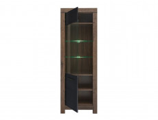 Modern Tall Glass Display Cabinet Showcase Storage Unit LED Lights Oak/Black - Balin