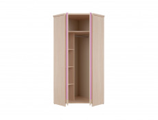 Kids Corner Wardrobe Pine finish with Blue Grey Pink - Caps