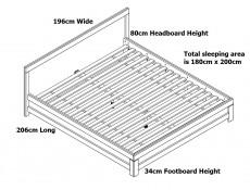 Modern Chunky European 180cm Super King Size Bed in Medium Oak Effect With Solid Wood Slats - Gent (S228-LOZ/180-DAST-KPL01+WKL180/L16-BK)