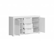 Modern Sideboard Cabinet Cupboard White Gloss Living Room - Flames