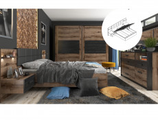 Elegant King Size Bedroom 3-Piece Set Built-in Lift Up Storage Bedside Cabinets Units with Lighting Oak/Black - Kassel (L99-KASSEL_STORAGE_SET)