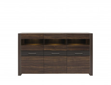 Wide Glass Cabinet Sideboard with LED lights - Alhambra (S306-KOM3W-AHB-KPL01)
