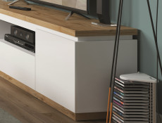 Modern White Gloss / Oak finish TV Cabinet Stand Unit with Soft Close Drawer - Erla