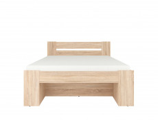 Storage Double Bed Frame in Sonoma Oak Finish with Wooden Slats- Nepo