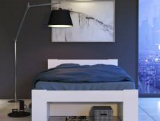 Storage Double Bed Frame in White Matt Effect Finish with Solid Wood Slats- Nepo (S435-LOZ3S-BI-KPL01+WKL140/L16-BK)