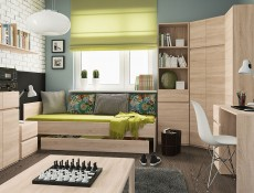 Modern Horizontal Wall Mounted Cabinet Storage Unit 120cm in Sonoma Oak - Academica