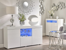 Modern Sideboard Glass Display Cabinet Lowboard White High Gloss Blue LED - Lily