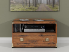 Modern 80cm TV Stand Entertainment Cabinet 1 Drawer and Open Compartment in Sutter Dark Oak Effect Finish - Indiana (S31-JRTV1s-DSU-KPL01)