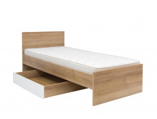 Modern Underbed Drawer on Wheels for Single Bed Frame Storage Unit Oak/White Gloss - Balder (S382-SZU-DRI/BIP-KPL01)