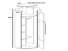 Arrow - Corner Wardrobe (SZFN1D/20/8)