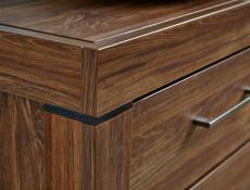 Modern Hallway Storage Shoe Bench in Oak finish with Brown Seat Cushion & Drawer  - Gent