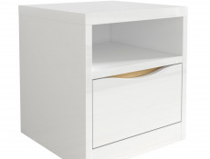 Modern Bedside Cabinet Drawer Storage Unit White Gloss Oak finish - Pori