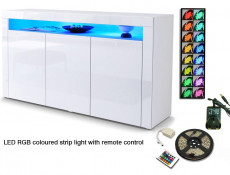 White High Gloss Sideboard Modern Unit Display Cabinet with RGB LED Light - Lily
