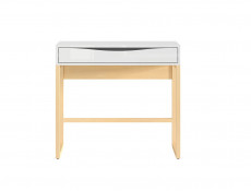 Modern Compact Console Dressing Table Desk with Drawer White Gloss Oak finish - Pori