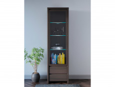 Modern Glass Display Cabinet Tall Unit Dresser in Wenge Dark Brown Effect - Kaspian (S128-REG1W2S-WE/WE-KPL01)
