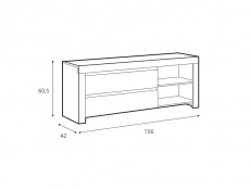 Scandinavian Large TV Stand Media Table 2 Drawer Cabinet Unit 156 cm White Gloss/Oak  - Holten (S397-RTV2S-BI/DWO/BIP)