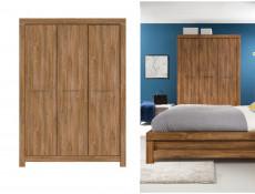 Modern Bedroom Quad Triple 3-Door Wardrobe with Shelves and Rail in Dark Oak finish - Gent (S228-SZF3D/21/15-DAST-KPL01)