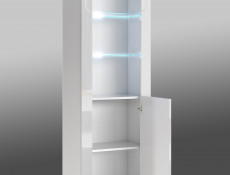 Tall White High Gloss Bookcase Modern 1 Door Display Cabinet Unit with Glass Shelving and RGB LEDs - Lily