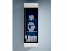 Wall Mounted Display Cabinet Glass Door Unit White High Gloss or Oak LED light - Fever