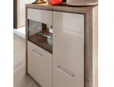 Wide Display Cabinet in Beige Gloss and Oak finish - Koen 2 (REG1D1W/143)