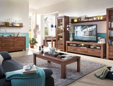 Modern Rectangular Oak effect Coffee Table with Storage Shelf - Gent