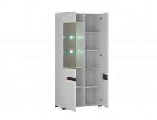Tall Wide Glass Display Cabinet Unit LED Light White Gloss and White Matt Finish - Azteca (S205-REG1W1D/19/9-BIP/WEM-KPL01)