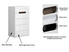 Modern White Gloss Chest of 5 Drawers Tallboy Unit with White/Wenge/Black Gloss Insert - Azteca Trio