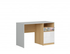 Modern White Gloss/Grey/Oak Study Desk with Storage Drawer Kids Bedroom Emoji/Comic Script - Nandu
