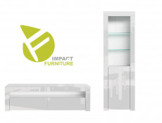 Modern White High Gloss Furniture Set: Tall Display Cabinet with Glass Shelving & Entertainment Stand - Lily