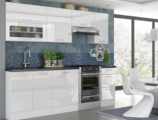 Modern White High Gloss Kitchen Wall Cabinet 40cm Cupboard 1 Door 400 Hanging Unit - Rosi (STO-ROSI-W40-P/L-BI/BIP-KP01)