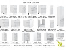 Modern White High Gloss Kitchen Wall Cabinet 40cm Cupboard 1 Door 400 Hanging Unit - Rosi