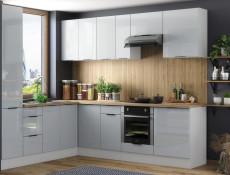 Light Dove Grey Gloss Tall Kitchen Larder Cabinet Pantry 400 Cupboard 2 Doors 40cm Unit - Luna (STO-LUNA-D40SL/2183 P/L (2FR)-SZ/SZP-KP01)