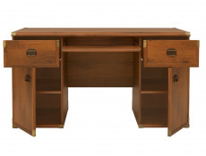 Modern Wide Large Home Office Desk with 2 Doors and 2 Drawers Storage Cabinets in Dark Oak Effect - Indiana (S31-JBIU2d2s-DSU-KPL01)