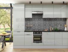 Light Dove Grey Gloss Kitchen Wall Cabinet 60cm Extractor Housing Cupboard 1 Door Wall Mounted 600 Unit - Luna (STO-LUNA-W60_OK-SZ-SZP-KP01)