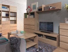 Modern TV Cabinet Media Bench Storage Unit 120cm Sonoma Oak - Academica