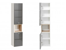 Tall Wall Mounted Bathroom Cabinet Unit Grey Gloss - Finka