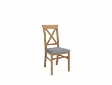 Traditional Light Oak Dining Room Chair Beech Wood Frame Grey Upholstered Seat Cross Back - Bergen