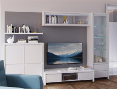 White Gloss Glass Display Cabinet Dresser - Kaspian W