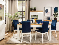 Scandinavian Modern Style White Solid Wood and Blue Velvet Upholstery Dining Room Chair - Holten