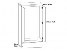 Modern White Gloss / Oak Effect Finish Double 2 Door Double Wardrobe with Soft Close Doors and Drawer - Erla (S426-SZF2D1S-BI/DMV/BIP-KPL01)