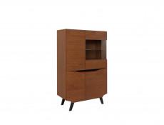 Retro Low 4-Door Display Cabinet LED Lights Glass Storage Unit Living Room Brown Oak - Madison (S431-REG3D1W/150-DABR-KPL01)