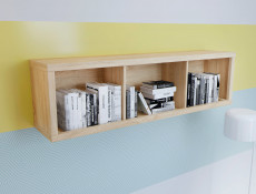 Modern Wall Cabinet Storage Display Shelf Light Oak - Kaspian