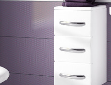 Narrow Bathroom Drawer Cabinet White High Gloss / White without Worktop - Coral (Coral D30S/3 White No Top)