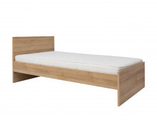 Modern Single Bed Frame Headboard Wooden Slats Riviera Oak - Balder (S382-LOZ/90-DRI-KPL01)